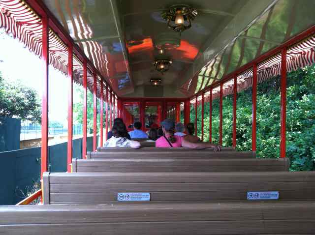 A not crowded car on the Walt Disney World Railroad