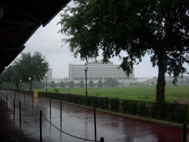 Rain at Magic Kingdom bus stop
