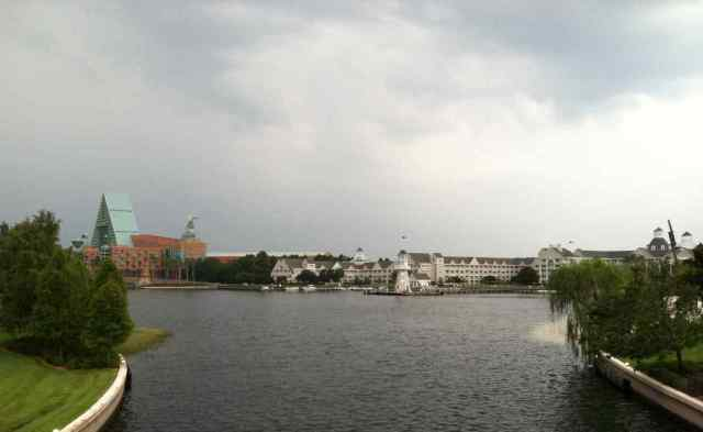 Looking back at the Resort Area on approaching the International Gateway to Epcot