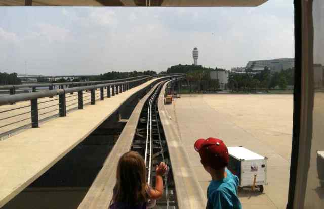 On the monorail to the main terminal at Orlando International