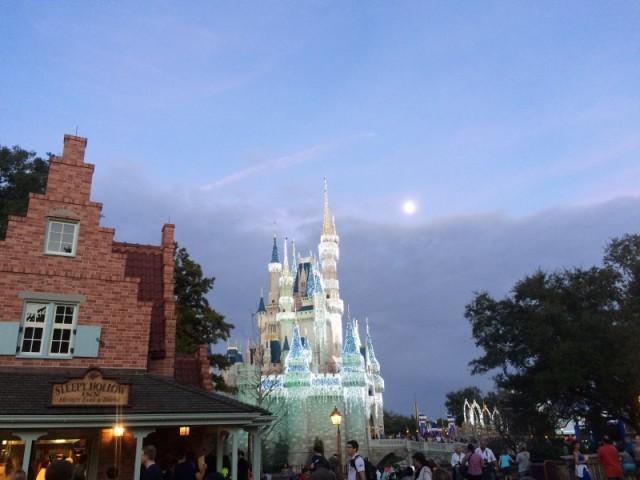 Castle & Waxing Gibbous Moon