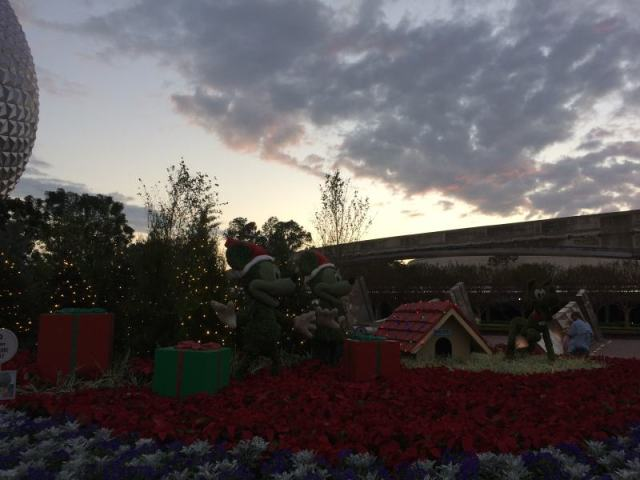 Mickey, Minnie, Pluto topiaries
