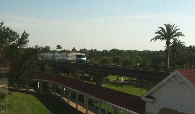 the monorail, approaching or departing