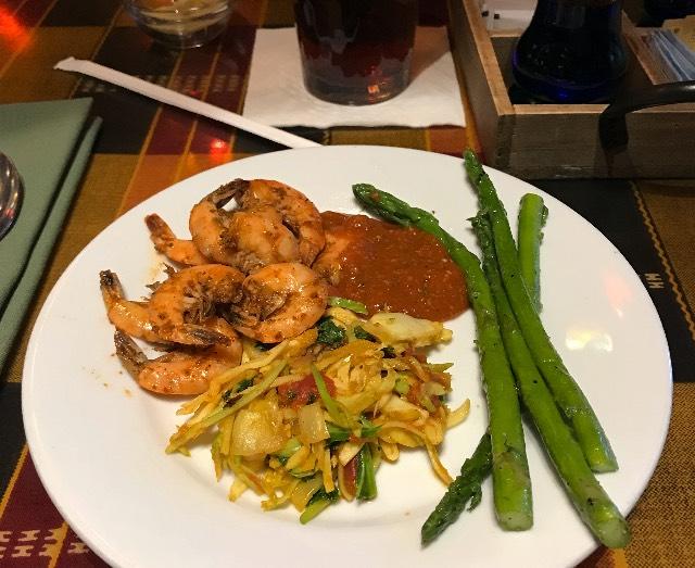 Shrimp, Salad, Asparagus