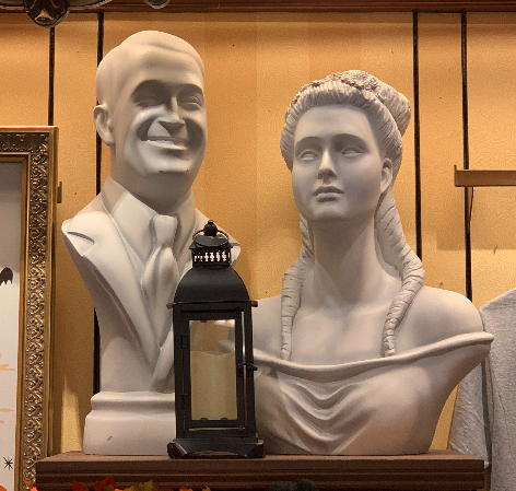 a bust on display in the Emporium
