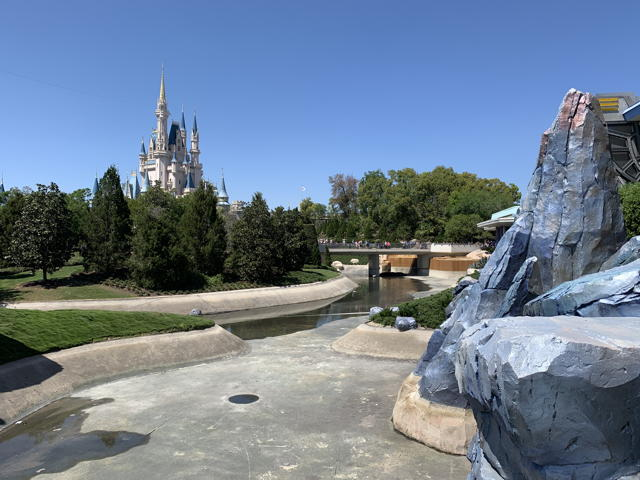 drained moat; Cinderella Castle