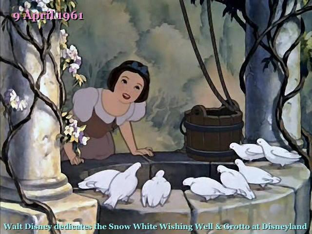 9 April 1961: Walt Disney dedicates the Snow White Wishing Well and Grotto at Disneyland.