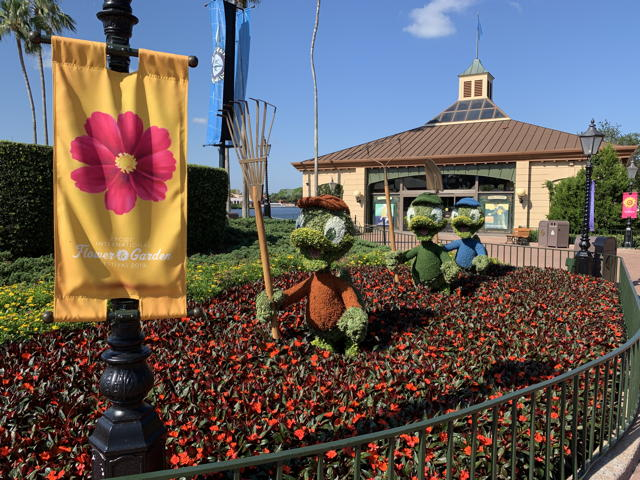 Hewey, Dewey, and Louie topiaries